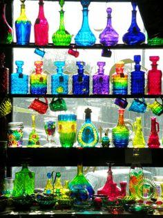lovely colored glass bottles