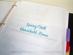 Part 1 of the Household Family Binder Series at Taking Time To Create with FREE Printables. www.takingtimetocreate.blogspot.com