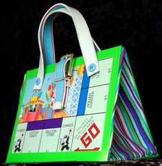 Upcycled Monopoly Jr. Board Game Purse Novelty Gift made from vintage 1990 Monopoly Jr. Game Board