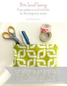 pouch tutori, craft, easi zipper, easy beginner sewing, zipper pouch