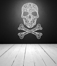 Wall Decal Sugar Skull Crossbones Tattoo Rock and Roll Dorm Decor Halloween. $75.00, via Etsy.