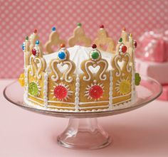 cookie cakes, birthday parties, little princess, princess crowns, birthdays, princess party, princess cakes, birthday cakes, crown cake