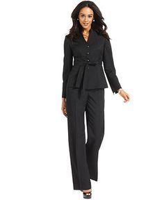 Le Suit Pantsuit, Belted Jacket & Trousers - Womens Suits & Suit Separates - Macys