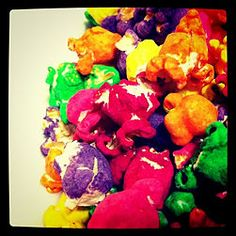 Colored Popcorn-- it's all about butter, baby!