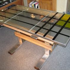 craft, glass tabl, custom furniture, glass idea, stain glass, trundle beds, table designs, stained glass, fuse glass
