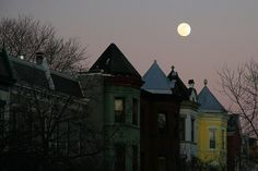 Full moon over a quiet street in Capitol Hill. Nina Daniels and her family live in an English basement apartment in the largest historic residential neighborhood in Washington, D.C.