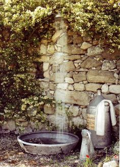 a rustic outside shower