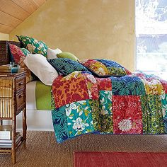 A neutral space comes alive with this bohemian bedding.