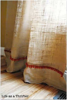 Handmade hessian curtains  Are these too cute or what....