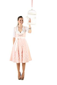 Soft, romantic shades at work in this beautiful dirndl by Mein Dirndl. #pink #dirndl #dress #folk #costume #German #clothing