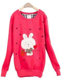 Rose Red Rabbit Round Neck Long-sleeved Sweatshirt$36.00