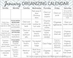 Free Printable January Organizing Calendar  #organizing