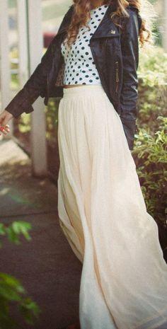 Maxi skirt + polka dots + moto jacket.
