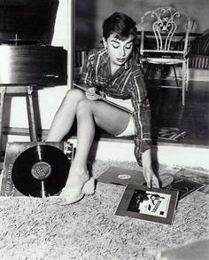 Audrey Hepburn Listening to Records