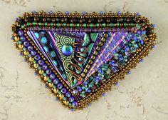 dichroic glass brooch  #beadwork