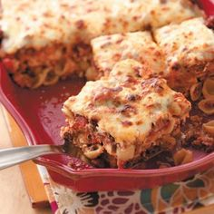 Cheesy Shell Lasagna Recipe from Taste of Home -- shared by Mrs. Leo Merchant of Jackson, Mississippi