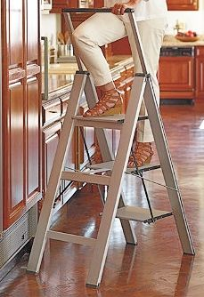 Slim line ladder from Frontgate - A CLient favorite for several years.  This is a very sturdy ladder but it is also VERY HEAVY.  The original ladde was much lighter, but recalled :(