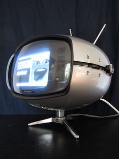 Vtg. 1960s SPACE AGE Japanese EAMES ERA Atomic PANTON OLD Mini TELEVISION