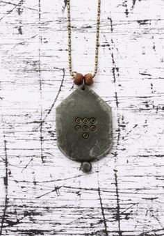 Danna Gusman - Gray polymer clay modern necklace with metal & wooden beads minimalistic pendant old effect texture
