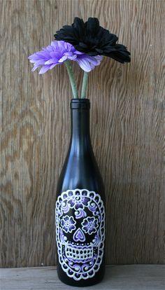 Wine o crânio vaso de garrafa, Up Cycled, Dia dos Mortos
