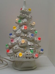 Vintage Lighted Ceramic Christmas Tree // White and Gold by MyBarn, $85.00
