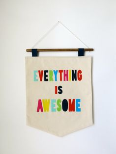 Everything is Awesome Wall Hanging - Cream and Colorful - Canvas and Felt Lettering Home, Welcome sign, Kid's Room Decor on Etsy, $60.00 ---- made this! it's super easy to diy! Wall Hangings, Kids Rooms Decor, Miscellan Decor, Awesom Wall, Kid Rooms, Craft Riot, Austin Craft, Boy Room