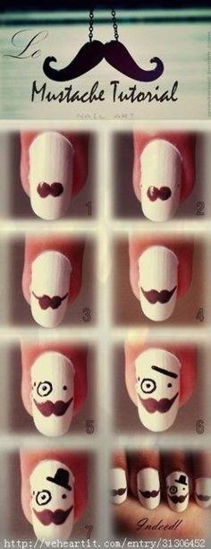 mustache nails tutorial