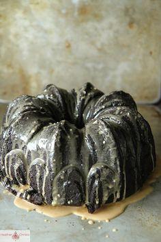 Chocolate Zucchini Coconut Cake with Coffee Glaze
