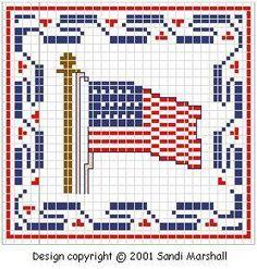 Cross Stitch Chart 1776 U.S. flag