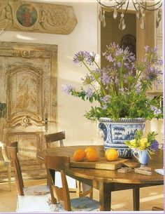 breakfast rooms, dining rooms, interior, the doors, blue, french country, french countri, fresh flowers, white kitchens