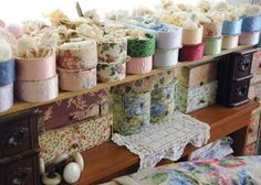 Faith, Grace, and Crafts: vintage dresser boxes holding lace