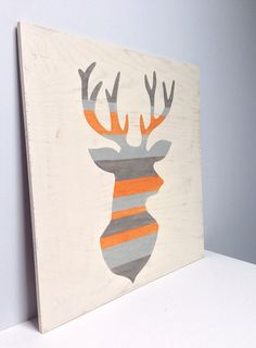 Large Hand Painted Rustic Deer Head Silhouette on Wood, woodland Nursery Art, Striped Wall Art, Buck Painting, Gray Orange Decor, Antler Art on Etsy, $90.00