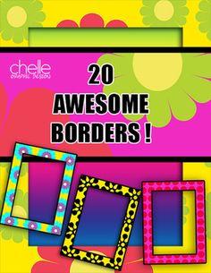 CLIP ART: 20 Fabulous Letter Size Borders 300 dpi, Full Color, PNG Format, Commercial Use Ok