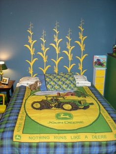 This John Deere themed bedroom has a headboard made from Uppercase Living's Corn Stalk growth chart (without the number marks applied.) CUTE!!  http://elizabeth.uppercaseliving.net Bedding, John Deere Decor, Alex Bedroom, Farmer, Boy Bedroom, Growth Charts, Kid Rooms, Boy Rooms, John Deere Room Ideas