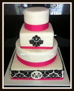 black & hot pink damask