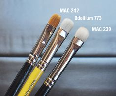 Bdellium Tools 773 Shading Blender Brush compared next to the MAC 242 and MAC 239.