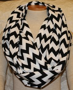 Black & White Chevron Infinity Scarf.