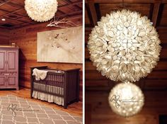 Gorgeous natural nursery design crib bedding, nursery design, rug, nurseries, light fixtures, mobil, canvas art, rustic nurseri, babi
