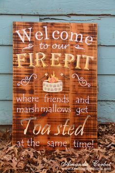Think we may need a sign like this once we build the pit! dyi yard projects, outdoor decor dyi, diy pallette projects, cabin outdoor decor, diy home decor projects, diy cookout decorations