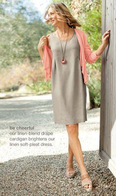 linen soft-pleat dress, linen-blend drape cardigan, double-strap platform sandals & jade pendant necklace
