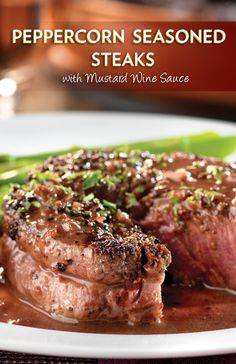 Steaks with Mustard-Wine Sauce - Beef stock, dry red wine, shallots ...