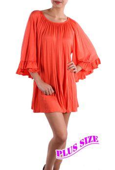 Coral Ruffle Sleeve Top - #blondellamydean #plussizefashion #plussize #curves