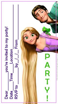 PRINCESS COLORING PAGES | Free Tangled invitations