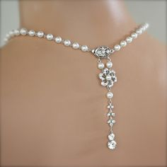 Bridal Necklace Back Drop Pearl Necklace White Pearl Crystal Art Deco Wedding Jewelry CLASSIC WITH A TWIST. $86.00, via Etsy.