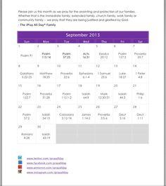 """September 2013 """"family"""" prayer calendar"""