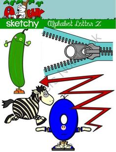 "Alphabet Clipart Letter ""Z"" Graphic - Clip art from Sketchy Guy on TeachersNotebook.com -  (15 pages)  - Alphabet Clipart Letter ""Z"" Graphic - Clip art 15 individual files. The actual images are: -Zebra -Zero -ZigZag -Zipper -Zucchini 5 Color, 5 Grayscale, 5 White"