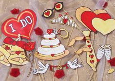 engagment or wedding photo booth props - crazy in love - golden and red. $14.99, via Etsy.