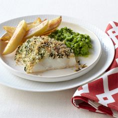 Crispy Fish with Smashed Peas and Oven Fries #myplate #vegetables #grains #protein