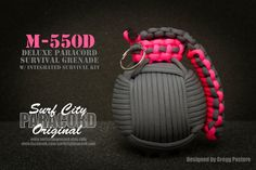 Same as the M-550D, but in grey and pink. The M-550D features up to 50ft of 550 paracord. Inside is a water tight, yet buoyant case containing a variety of survival equipment. Carry in your car, hang from your backpack when hiking, or keep it around the house for emergencies.