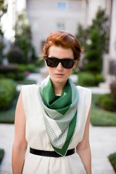 green scarf on white